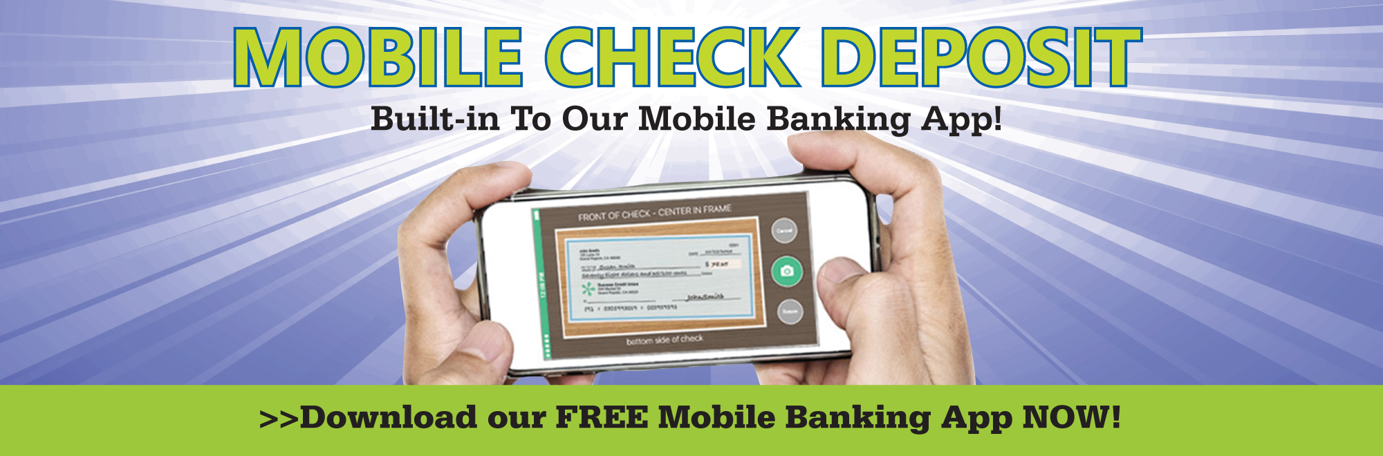Deposit checks with your mobile phone with our free mobile check deposit service!
