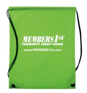 Green swag bag with MEMBERS1st logo on it.