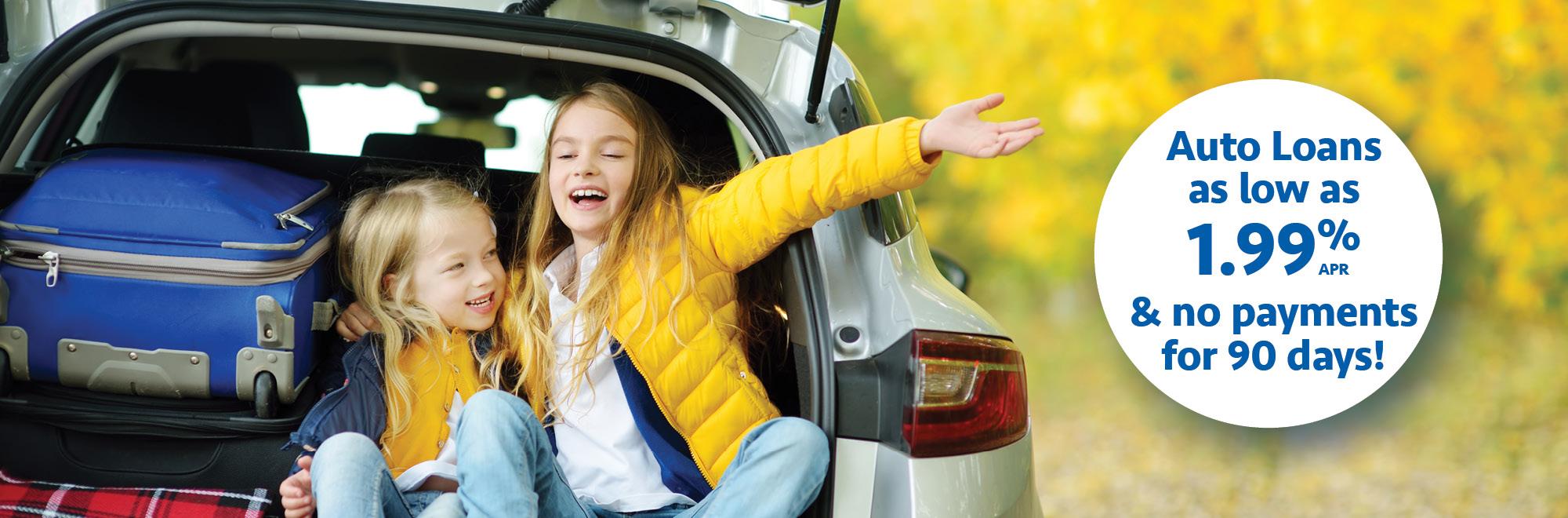 Auto loan as low as 1.99% APR