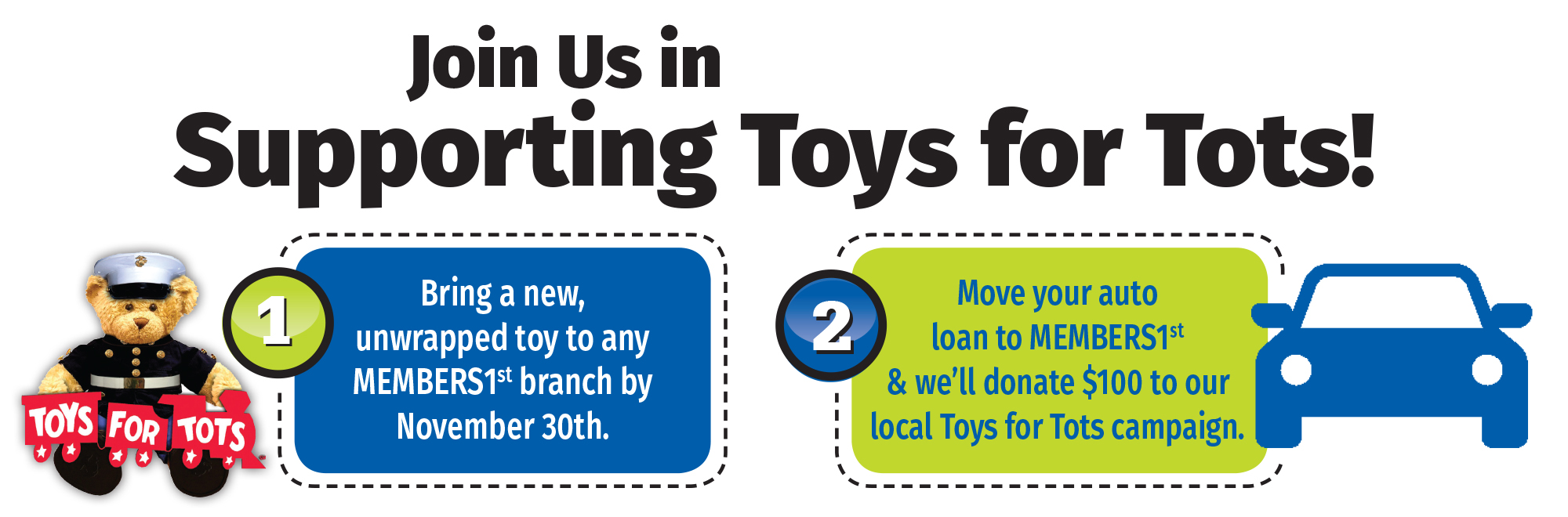 Join us in supporting Toys for Tots! There are 2 ways to participate - click this image to learn more!